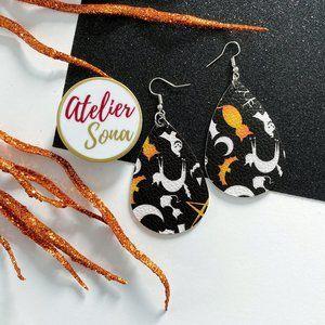 Halloween Tear Drop Earrings - Black/White